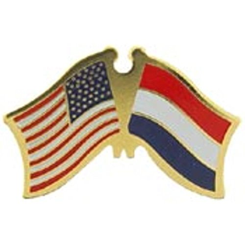 American & Netherlands Flags Pin 1