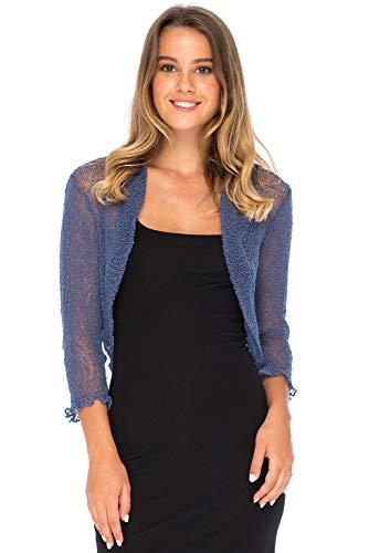 - Back From Bali Bolero Lite Blue Jean Womens Sheer Shrug Cardigan Jacket