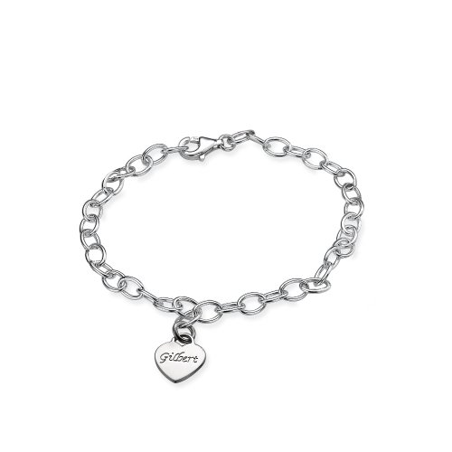 Sterling Silver Mother's Personalized Heart Charm Bracelet - Custom Made with up to 6 Names! (6.5 Inches, 1) (Heart Charm Personalized Silver Sterling)