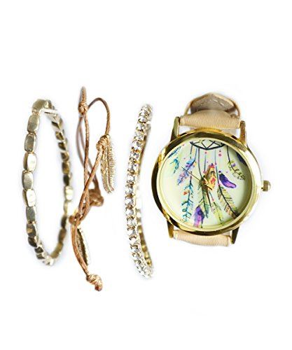 Dreamcatcher Nude Beige Gold Tone Watch with Matching Charm and Feather Bracelets by Baubles N Gems