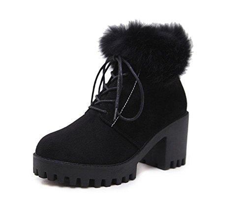 KUKI Zapatos femeninos, Botas femeninas, Botas, Botas Martin, Negro, Cordones, Tacón grueso, Zapatos de plataforma, Botines, Terciopelo, Calor, Botas de ...