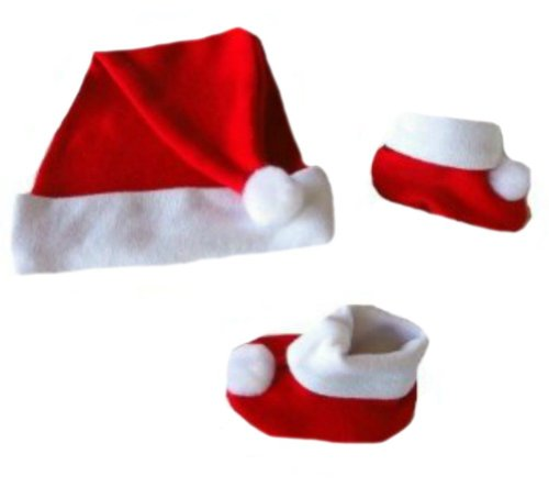 Santa Hat and Booties Set for Newborns and Preemies