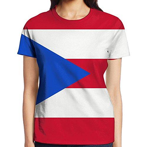 YOIGNG Hawaiian 3D Printed Flag of Puerto Rico T-Shirt Short Sleeve Crewneck Tee Pullover Casual Tops