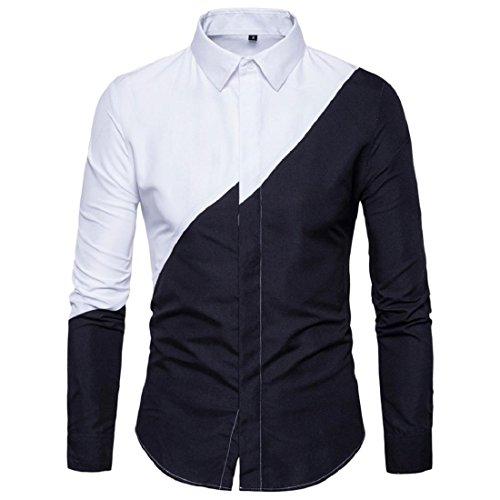 Men's Long Sleeve Oxford Shirts Casual Stylish Colorblocked Slim Fit Dress Shirts (S, Black) by GONKOMA Mens Shirts