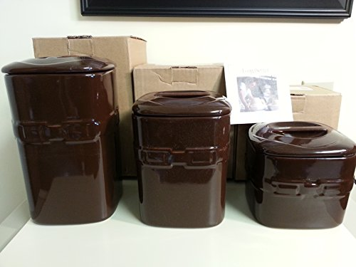 (Longaberger Canister Set of 3 Chocolate Brown Pottery New)