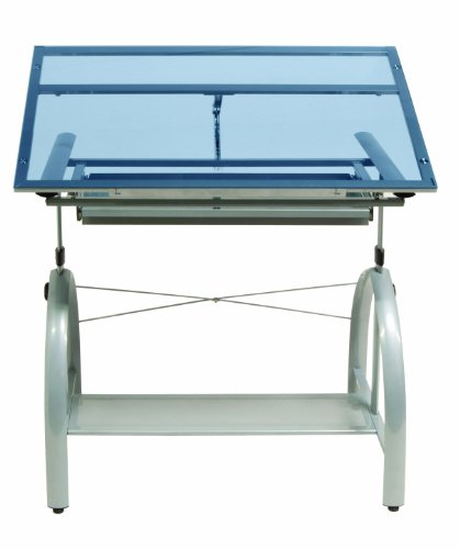 Studio Designs Avanta Drafting Table in Silver with Blue Glass 10060 by Studio Designs