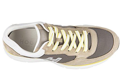Chaussures Hogan Hommes Chaussures En Daim Sneakers H254 H Flock T2015 Beige