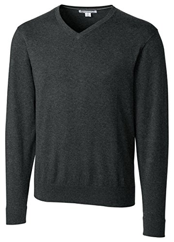 Cutter & Buck Men's Machine Washable Lakemont V-Neck Sweater, Charcoal Heather, Large