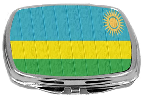 Rikki Knight Compact Mirror on Distressed Wood Design, Rwanda Flag, 3 Ounce by Rikki Knight