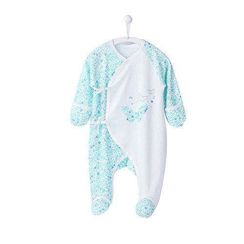 COBROO Unisex Baby Footed Sleepers Pajamas with Built-in Mittens 100% Cotton Baby Outfits with Floral Butterflies Print 0-3 Months