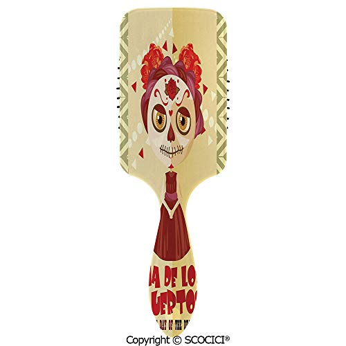 Detangling Hair Brush Soft Comb Cushion Air Spanish Dia de los Muertos Print Girl with Gothic Makeup Hairbrush for Women Reducing Hair Breakage and Frizzy, No More Tangle (Dia De Los Muertos At The Pearl)