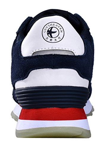 WUXING Christmas Unisex Women Sport Casual Stripe Flat Couples Shoes(5.5 B(M)US, Navy)