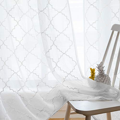 Sheer Curtains White 63 Inches,Embroidered Moroccan Tile Lattice Design Rod Pocket Voile Drapes for Living room, Bedroom, Window Treatment Crinkle Curtain Panels for Villa, Parlor, Set of 2, 52