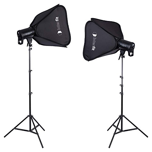 Interfit LEDM100D2K1 Studio Essentials Dimmable - 100W LED Monolight 2-Light Kit, Black, 1