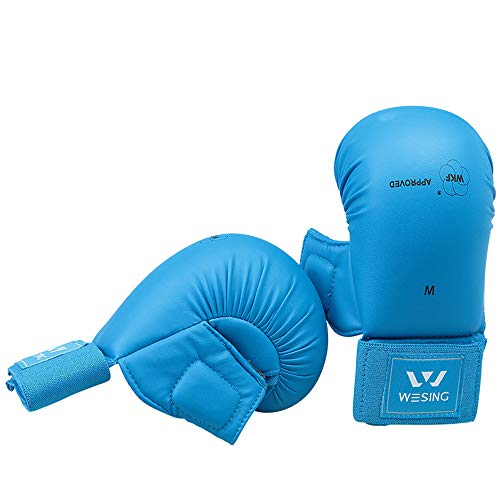 wesing WKF Sparing Karate Gloves with Thumb Protection Blue Red (Blue, ()