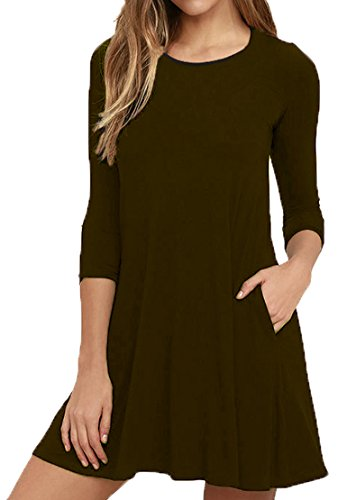 Viishow Women's Pockets Casual Swing T-Shirt Dresses Coffee ()