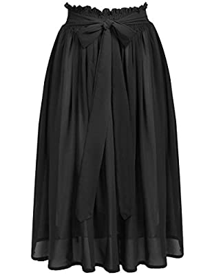 ACEVOG Women's Summer Chiffon Bowknot Pleated A-line Flare Midi Skirt Dress