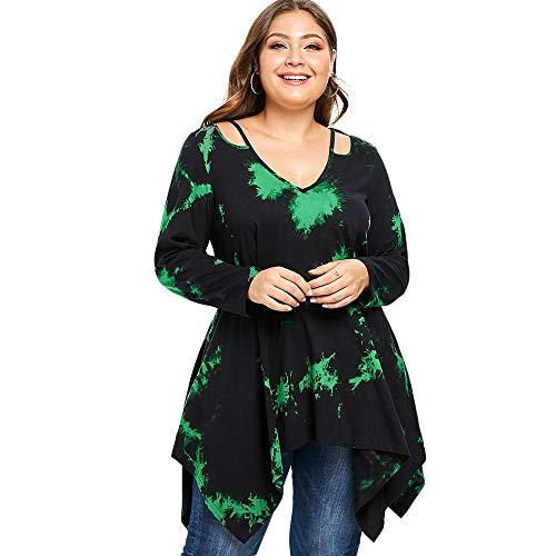 KCatsy Tie Dye Plus Size Cutout Handkerchief Longline Tee Green