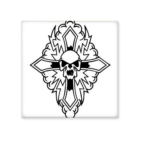 chic Religion Christianity Belief Church Black Holy Cross Skull Culture Design Art Illustration Pattern Ceramic Bisque Tiles for Decorating Bathroom Decor Kitchen Ceramic Tiles Wall Tiles