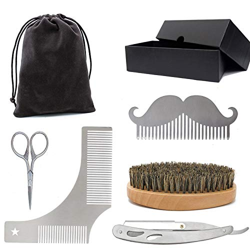 Beard Shaping Tool – 5 in 1 for Men's Shaping Tool Set with Beard Comb Mustache Scissors Straight Razor,(Blades Not Included) Father's Day Gift Choice