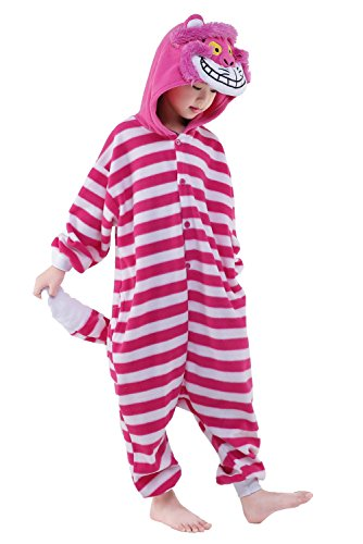 NEWCOSPLAY Kids Plush One Piece Cosplay Onesies Costume (125, Cheshire Cat)