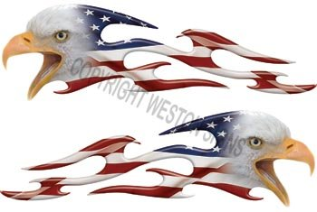 Tribal American Flag Eagle Flames - 2.25