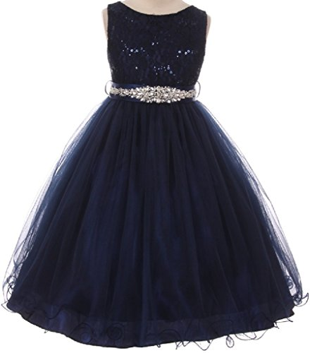 Little Girls Dress Sparkly Sequins Detachable Rhinestone Crystal Sash Flower Girl Dress Navy 6 (M3B4K0CB) (Sparkly Dresses For Little Girls)