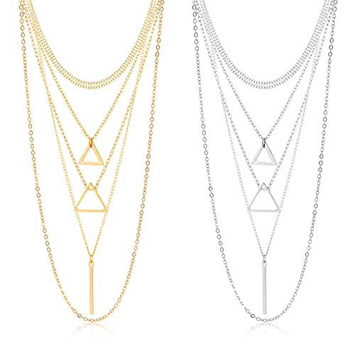 CHANBO Pendant Necklaces For Women Girls Popular Triangle Gold Silver Set 2021 Fashion Jewelry