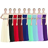 OwlFay Women's Strapless Bridesmaid Dresses Rhinestone Long Chiffon Prom Formal Evening Gown Wedding Party Dresses
