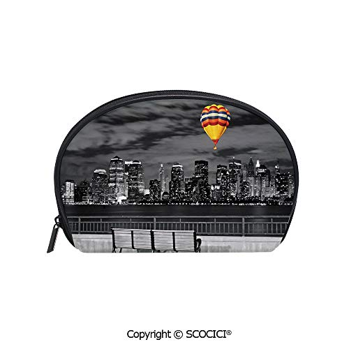 SCOCICI Printed Small Size Storage Makeup Bag NYC Skyline from State Park Air Balloon in Sky for Women Girl Ladies -