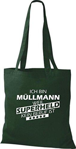 Shirtstown Stoffbeutel Ich bin Müllmann, weil Superheld kein Beruf ist Grün
