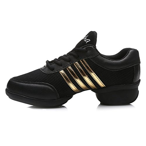 Cotton Shoes Sneaker Women Model HROYL Black gold Mesh Leather T08 Shoes Dance Jazz Modern Dance Soft azCx8XqC