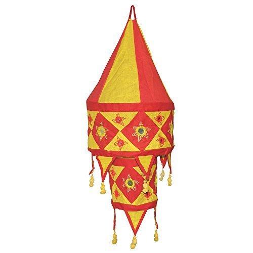 Paralume FISARMONICA 60 cm tessuto indiano rosso giallo Mano dopera dIndia
