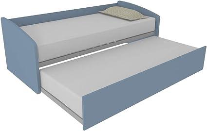 MOBILFINO CAMERETTE 600 - Sofá cama con forma contorneada con segunda cama extraíble, independiente y elevable para formar una cama de matrimonio, ...