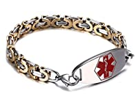 JF.JEWELRY Medical Alert ID Bracelet for Men & Women with Two-Tone Stainless Steel Byzantine Chain Link,Free Engraving