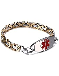 Medical Alert ID Bracelet for Men & Women with Two-Tone Stainless Steel Byzantine Chain Link,Free Engraving