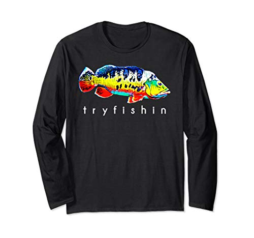 TryFishin Peacock Bass Fishing Long Sleeve T-Shirt