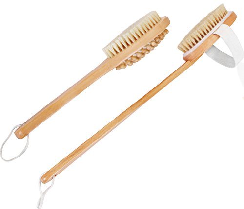 Price comparison product image 100 Percent Natural Boar Bristle Wooden Bath and Body Brush Set with Back Scrubber and Long Handle - Exfoliate Skin and Cellulite - by Utopia Home