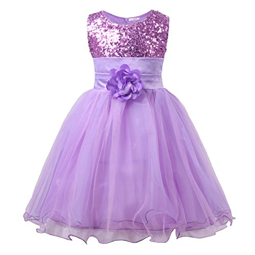 JerrisApparel Little Girls' Sequin Mesh Flower Ball Gown