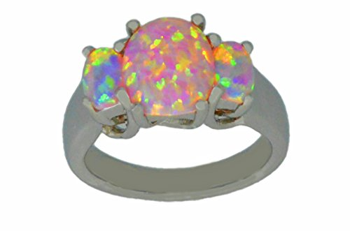 Simulated Pink Opal Oval Ring .925 Sterling Silver Rhodium Finish