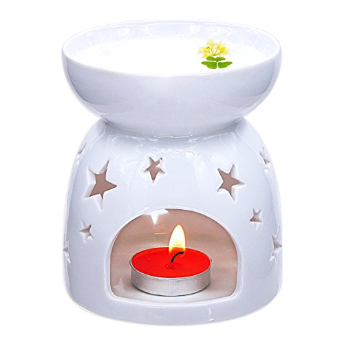 Ivenf Ceramic Essential Oil Incense Tart Tealight Candle Burner Diffuser, Holiday Home Decoration Valentine Christmas Gift, Cutout Stars