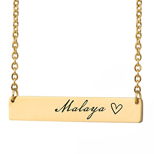 HUAN XUN Malaya Name Customize Name Necklace Baby Bar Initial Necklace Personal Jewelry Birthday Valentine Gift