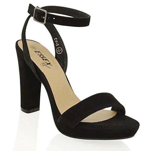 Essex Glam Sintético Zapatos de fiesta con tacón cuadrado, plataforma y tira al tobillo Negro Gamuza Sintética