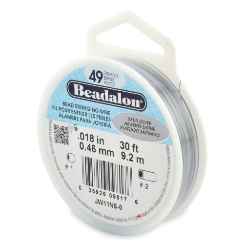 Beadalon 49-Strand Bead Stringing Wire, 0.018-Inch, Satin Silver, 30-Feet ()