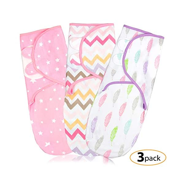 Baby Swaddle Wrap Blanket for Newborn & Infant | 0-3 Month Swaddlers Sleep Sack with Adjustable Wings | 3 Pack Breathable Wrap Sack for Girls