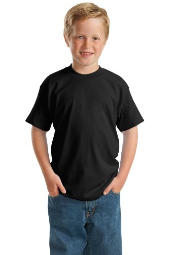 - Hanes 5.2 oz Youth COMFORTSOFT HEAVYWEIGHT 50/50 T-Shirt, L-Black