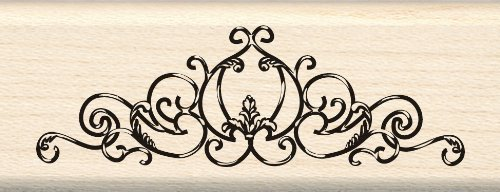 Rubber Border Stamp - Inkadinkado Flourish Border Wood Stamp for Card Making, 3.25'' W x 1.25'' L