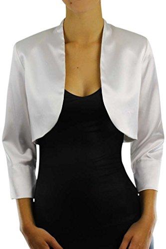 White 3/4 Sleeve Satin Bolero Shrug Jacket Size Large
