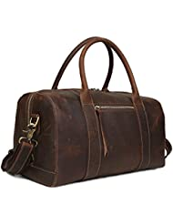 BAIGIO Womens Leather Travel Duffel Overnight/Weekend Bag Tote Duffle Luggage (Dark Brown)