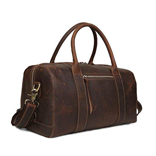 BAIGIO Damen Herren Vintage Leder Reisetasche Weekender Sporttasche Schultertasche Reisegepäck Freizeittasche Groß Handgepäck sehr Praktisch Echtem Leder Umhängetasche, Braun